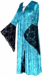 SOLD OUT! Turquoise Velvet with Black Lace Gothic Lace-Up Plus Size Witch Dress 1x 2x 3x