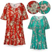 CLEARANCE! Vintage Blossoms Print Plus Size & Supersize Extra Long T-Shirts 1x 5x