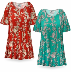 CLEARANCE! Vintage Blossoms Print Plus Size & Supersize Extra Long T-Shirts 1x