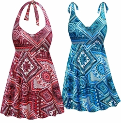SOLD OUT! Wine & Neon or Ocean Abstract Print Halter or Shoulder Strap 2pc Plus Size Swimsuit/SwimDress