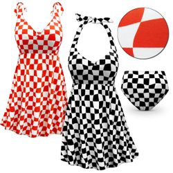 CLEARANCE! Wonderland Print Halter or Shoulder Strap 2pc Plus Size Swimsuit/SwimDress 2x