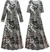 CLEARANCE! Plus Size Gray Animal Slinky Print Short Sleeve Dresses & Tanks - Sizes 0x 3x 4x Tall