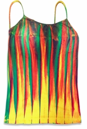SOLD OUT! Colorful Lines Tie Dye Spaghetti Strap Plus Size Tank Top 4x
