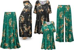 <strong>CRUSH VELVET</strong> Green or Black Floral Print - Plus Size Dresses Shirts Jackets Pants Palazzo�s & Skirts - Sizes Lg to 9x