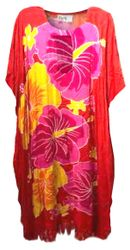 SALE! Customizable Plus Size Tropical Floral Print Mid Length Caftan Dress or Shirt 1x-6x