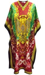 SALE! Customizable Plus Size Red, Green & Yellow Print Long Caftan Dress or Shirt 1x-6x