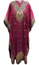 SALE! Customizable Plus Size Pink, Black & Gold Print Long Caftan Dress or Shirt 1x-6x