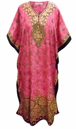 SOLD OUT! Customizable Plus Size Pink Marbled Print Long Caftan Dress or Shirt 1x-6x