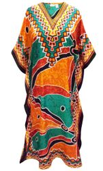 SALE! Customizable Plus Size Orange & Green Print Long Caftan Dress or Shirt 1x-6x