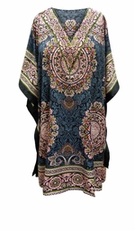 SOLD OUT! SALE! Customizable Gray & Red Print SHORT Plus Size Caftan