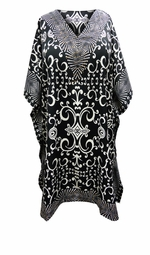 SOLD OUT! Customizable Black & White Scroll Print SHORT Plus Size Caftan