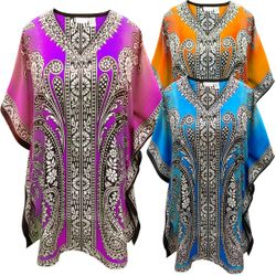 SALE! Customizable Plus Size Purple Orange or Blue Print Short Caftan Dress or Shirt 1x-6x