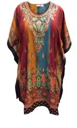 SALE! Customizable Plus Size Earth Paisley Print Short Caftan Dress or Shirt 1x-6x