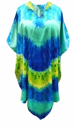 SOLD OUT! Customizable Plus Size Ocean Print Mid Length Satiny Caftan Dress or Shirt 1x-6x