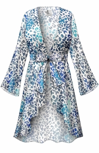 Customizable Blue Animal Print Sheer Blouse Swimsuit Coverup Plus Size & Supersize LG XL 0x 1x 2x 3x 4x 5x 6x 7x 8x