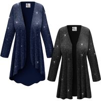 SOLD OUT! Customizable Plus Size Black or Navy With Glittery Silver Dots Slinky Print Jackets & Dusters - Sizes Lg XL 1x 2x 3x 4x 5x 6x 7x 8x 9x