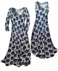 SOLD OUT! Customizable! New! Sparkly Sequins Black & White Floral Slinky Plus Size & Supersize Standard or Cascading A-Line or Princess Cut Dresses & Shirts, Jackets, Pants, Palazzo's or Skirts Lg to 9x