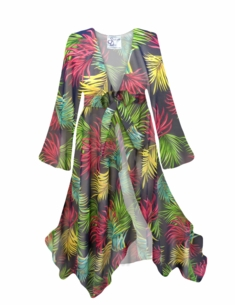 Customizable Palm Print Sheer Swimsuit Coverup Plus Size & Supersize LG XL 0x 1x 2x 3x 4x 5x 6x 7x 8x