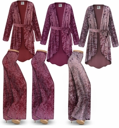 NEW! Customizable Plus Size Burgundy, Berry, & Mauve Ice Velvet Jacket and Palazzo Pant Lounge SET  - Sizes L XL 1x 2x 3x 4x 5x 6x 7x 8x 9x