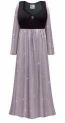 Customizable Plus Size Lavender Shimmer Slinky Empire Waist Dress With Rhinestone Detail Lg XL 0x 1x 2x 3x 4x 5x 6x 7x 8x