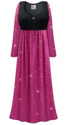 Customizable Plus Size Sheer Pink With Sparkles Empire Waist Dress With Rhinestone Detail Lg XL 0x 1x 2x 3x 4x 5x 6x 7x 8x