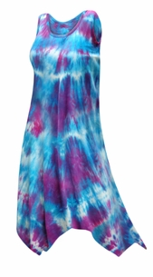 SALE! Plus Size Customizable Tie Dye Sharktail Hem Cotton Jersey Swimsuit Cover Up Dresses & Shirts Plus Size Supersize XL 0x 1x 2x 3x 4x 5x 6x 7x 8x 9x