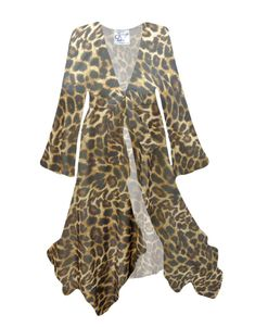 Customizable Sheer Leopard Print Swimsuit Coverup Plus Size & Supersize LG XL 0x 1x 2x 3x 4x 5x 6x 7x 8x