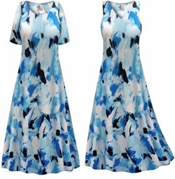 SALE! Customizable Plus Size Blue Flower Splash Slinky Print Short or Long Sleeve Dresses & Tanks - Sizes Lg XL 1x 2x 3x 4x 5x 6x 7x 8x 9x