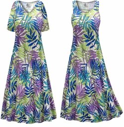 SALE! Customizable Plus Size Green Blue & Purple Leaves Slinky Print Short or Long Sleeve Dresses & Tanks - Sizes Lg XL 1x 2x 3x 4x 5x 6x 7x 8x 9x