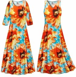 SOLD OUT! SALE! Customizable Plus Size Orange & Blue Floral Slinky Print Short or Long Sleeve Dresses & Tanks - Sizes Lg XL 1x 2x 3x 4x 5x 6x 7x 8x 9x