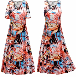 SOLD OUT! SALE! Customizable Plus Size Metallic Floral Abstract Slinky Print Short or Long Sleeve Dresses & Tanks - Sizes Lg XL 1x 2x 3x 4x 5x 6x 7x 8x 9x