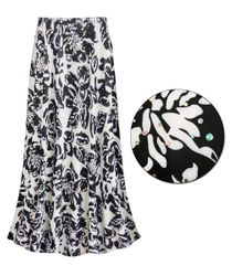 Black & White Floral With Sparkles Slinky Print Plus Size & Supersize Skirts - Sizes 4x
