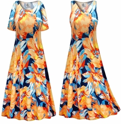 SOLD OUT! SALE! Customizable Plus Size Large Orange Blooms Slinky Print Short or Long Sleeve Dresses & Tanks - Sizes Lg XL 1x 2x 3x 4x 5x 6x 7x 8x 9x