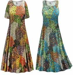 SALE! Customizable Plus Size Perfectly Peacock Slinky Print Short or Long Sleeve Dresses & Tanks - Sizes Lg XL 1x 2x 3x 4x 5x 6x 7x 8x 9x