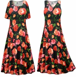 CLEARANCE! Plus Size Roses Slinky Print Short Sleeve Dresses 6xP