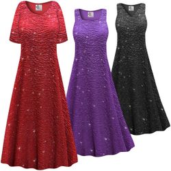 SALE! Customizable Plus Size Sparkling Purple or Black Glitter Crinkle Slinky Print Short or Long Sleeve Dresses & Tanks - Sizes Lg XL 1x 2x 3x 4x 5x 6x 7x 8x 9x