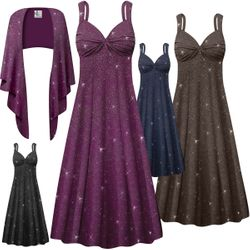 NEW! Customizable Plus Size 2-Piece Embossed Plum, Navy, Black or Gray Glitter Slinky Princess Seam Dress Set 0x 1x 2x 3x 4x 5x 6x 7x 8x