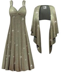 NEW! Customizable 2-Piece Sparkling Olive Glitter Slinky Plus Size SuperSize Princess Seam Dress Set 0x 1x 2x 3x 4x 5x 6x 7x 8x