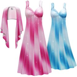 NEW! Customizable 2-Piece Shiny Pink or Blue Glimmer Slinky Plus Size SuperSize Princess Seam Dress Set 0x 1x 2x 3x 4x 5x 6x 7x 8x