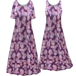 SALE! Customizable Plus Size Purple Feathers Print Princess Cut Poly/Cotton Jersey Dress 0x 1x 2x 3x 4x 5x 6x 7x 8x 9x