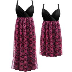 SALE! Customizable Black & Pink Floral Lace Plus Size Lined Empire Waist Dress 0x 1x 2x 3x 4x 5x 6x 7x 8x