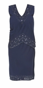 CLEARANCE! Sequined Navy Tiered Plus Size V-Neckline Dress 3x 4x