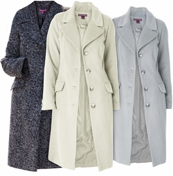 SALE! Ivory or Leopard Three-Quarter Woolblend Coat Plus Size 3x