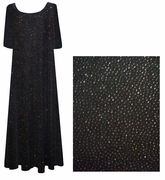 SALE! Gorgeous Midnight Black with Silver Glimmer Plus Size & Supersize Slinky Dresses XL 2x 6x