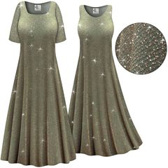 Final Sale! Plus Size Sparkling Olive Glitter Slinky Print Short or Long Sleeve Dresses & Tanks - Size Large XL