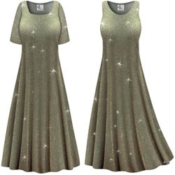 Final Sale! Plus Size Sparkling Olive Glitter Slinky Print Short or Long Sleeve Dresses & Tanks - Size Large XL 4x