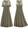 CLEARANCE! Plus Size Sparkling Olive Glitter Slinky Print Short or Long Sleeve Dresses & Tanks - Size L