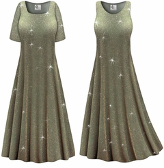 CLEARANCE! Plus Size Sparkling Olive Glitter Slinky Print Short or Long Sleeve Dresses & Tanks - Size L XL