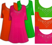 SOLD OUT! Just Reduced! Sparkly Orange - Green or Pink & Silver Rhinestone Neckline Plus Size Slinky Shirt 0x