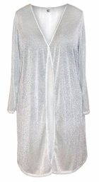 CLEARANCE! White With Silver & White Glimmer Slinky Plus Size & Supersize Customizable Duster Jackets 0x 3x 4x